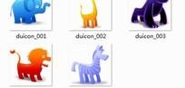 可爱卡通动物图标PGN格式