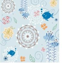 蓝色小鱼与彩色花朵图案AI矢量文件