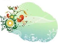 绿色调涂鸦背景上的萱草与圈点图案花