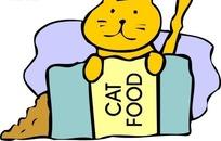 手绘倒在地上的猫食和黄色猫咪
