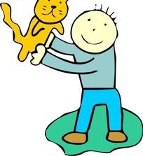 手绘和男孩玩耍的猫