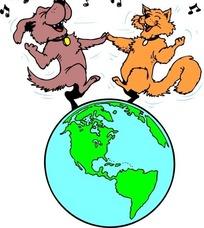 手绘牵着手在地球上唱歌跳舞的猫和狗