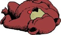 手绘躺着睡觉卡通熊