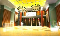 橙色格调门厅装饰设计效果图模型素材