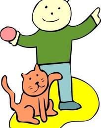 儿童插画和男孩玩耍的猫咪