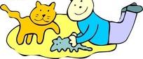 儿童插画趴着和猫咪玩耍的男孩