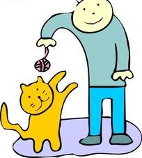 儿童插画站着逗弄猫咪的男孩