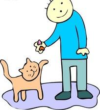 儿童画男孩和小猫咪