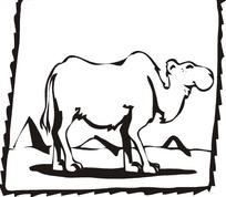 黑白骆驼插画矢量