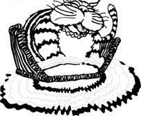 黑色线描画坐在沙发上的肥猫