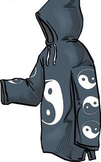 灰色调太极图案服饰设计