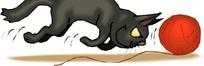 卡通画玩线球的猫咪