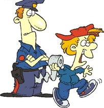 卡通警察和拿卷纸小偷