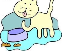 手绘吃完的学舔舌头的猫咪