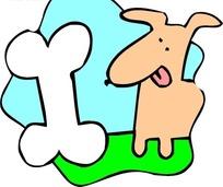 手绘看着白色骨头舔舌头的小狗