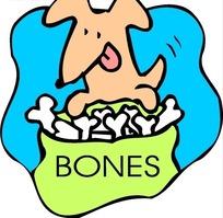 手绘看着一袋骨头舔舌头的狗