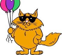 手绘拿着气球戴眼镜的肥猫