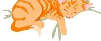 手绘趴着睡觉的一只虎纹猫咪
