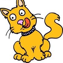 手绘一只蹲着舔舌头的黄色猫咪