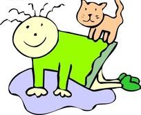 手绘站在女孩背上的猫咪