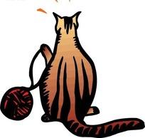 鼠绘红色线团和小猫背影