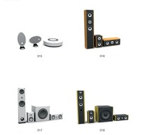 4款立式和圆形音响3D模型