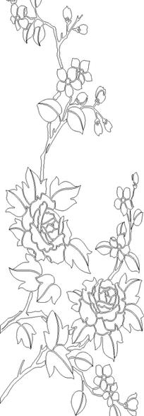 单色线条画玫瑰花卉hpgl格式图片