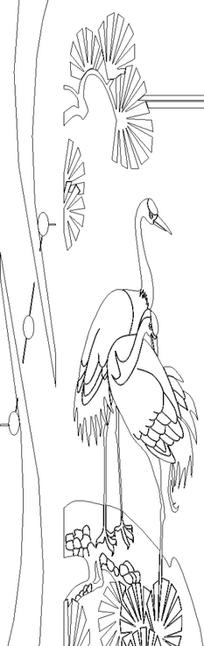 单色线条画仙鹤与松树图案hpgl格式