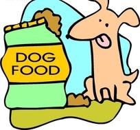 儿童画对着狗食舔舌头的小狗