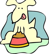 儿童画狗食盘边上蹲着舔舌头的小狗