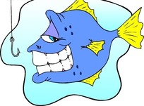 儿童绘画露出牙齿阴笑的鱼