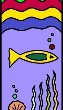 儿童绘画水下的一条小鱼图片