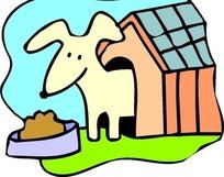 儿童手绘狗屋里看着狗食的小狗