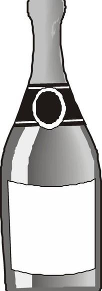 酒瓶黑白插画矢量