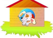 卡通画趴在狗屋里的小狗