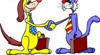 卡通画提着箱子握手的小猫和小狗