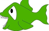 满嘴锋利牙齿的绿色小鱼手绘素材