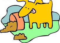 手绘吃狗食的橙色小狗