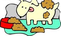 手绘吃狗食的小狗