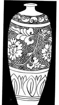 手绘黑白陶瓷花瓶