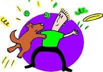 手绘和小狗玩飞碟的小狗