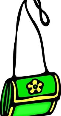 手绘绿色调五瓣花单肩包