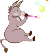 手绘坐在吹泡泡的驴