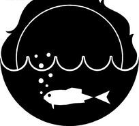 水下的鱼黑白图案矢量素材