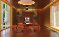 中式风格创意客厅设计效果图