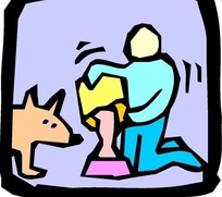 儿童绘画给小狗倒狗食的人