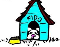 儿童绘画趴在狗屋里的小狗