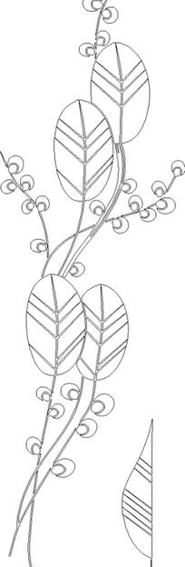 黑白线描花卉雕刻素材