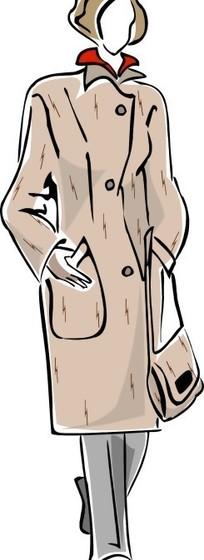 女性风衣服装设计展示矢量图