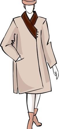 女性外套服装设计展示矢量图